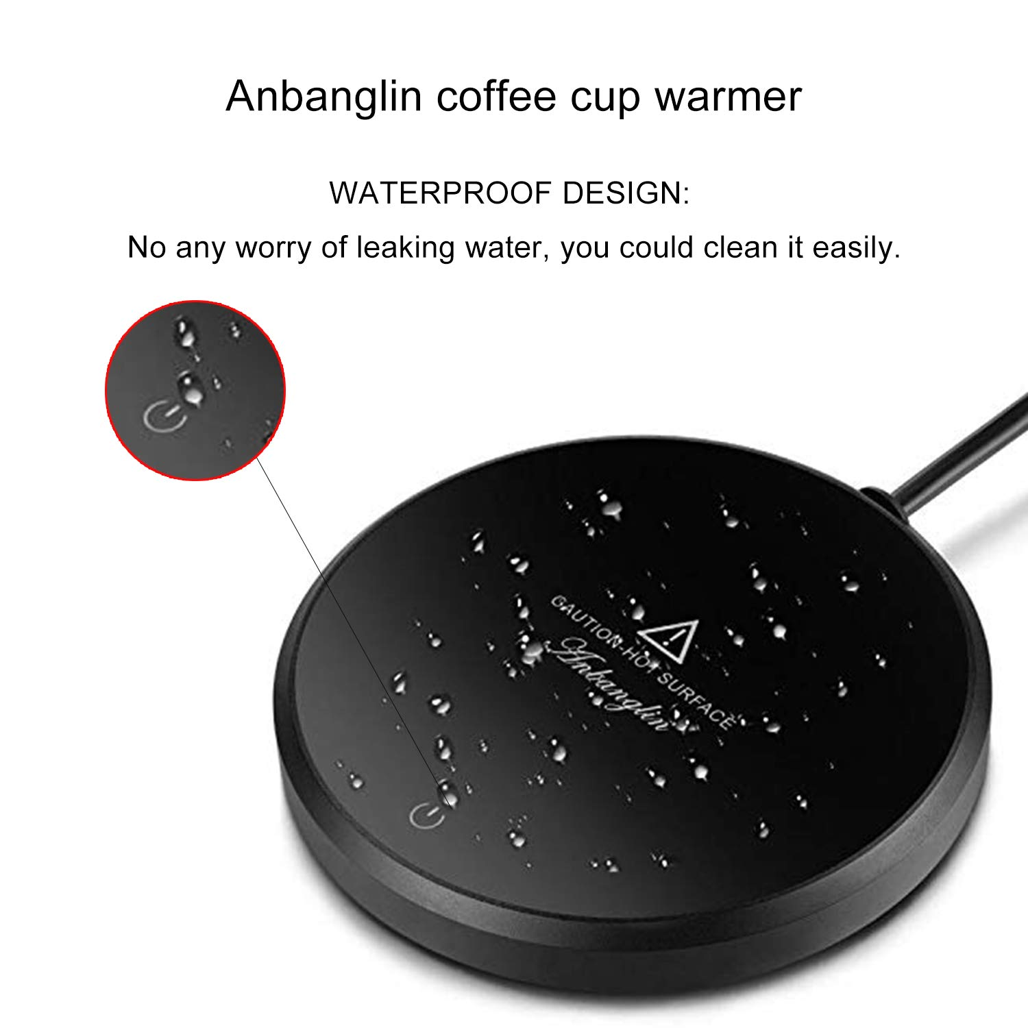 Anbanglin Coffee Mug Warmer Auto Shut Off for 4 hours Electric Cup Warmer Plate for Desk Office/Home Use 18-watt (sold without mug)