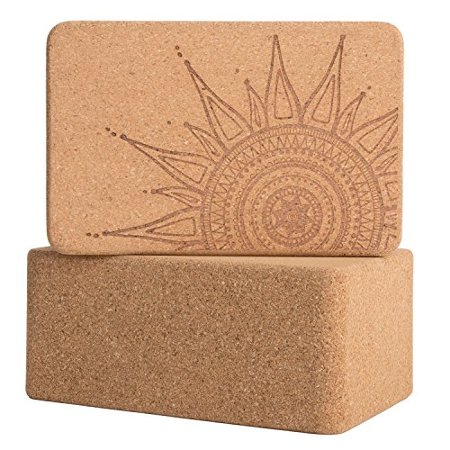 Peace Yoga Set of 2 Cork WoodYoga Blocks with Premium Designs - Sun