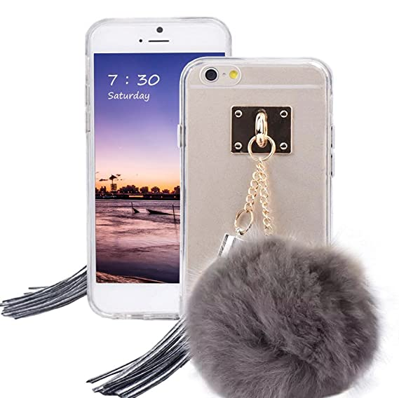new styles 16ec4 79658 Puff Ball Pom Pom Phone Case, Soft Clear TPU Case Cover With Fur Ball  Tassel for iPhone 6 /6s 4.7 Inch (grey)