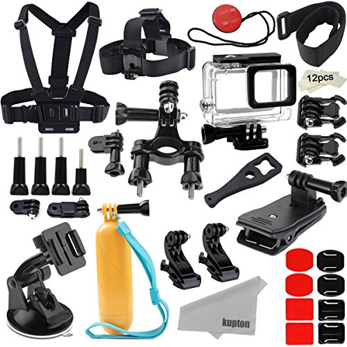 Kupton Accessories for GoPro Hero (2018)/6/5 Action Camcorder Camera Accessories Mounts Waterproof Case Chest Head Strap Bike Car Backpack Clip Mount for Go Pro Hero6 Hero5