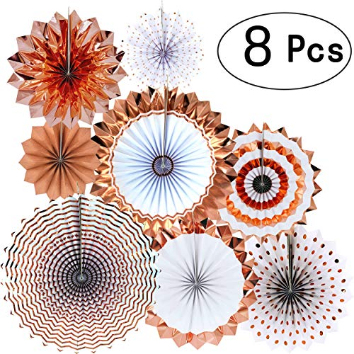AKIO CRAFT Rose Gold Party Decorations Hanging Paper Fans Wedding Bachelorette Bridal Shower Party Ceiling Hangings Gender Reveal Baby Shower Birthday Party Decorations, 8pc
