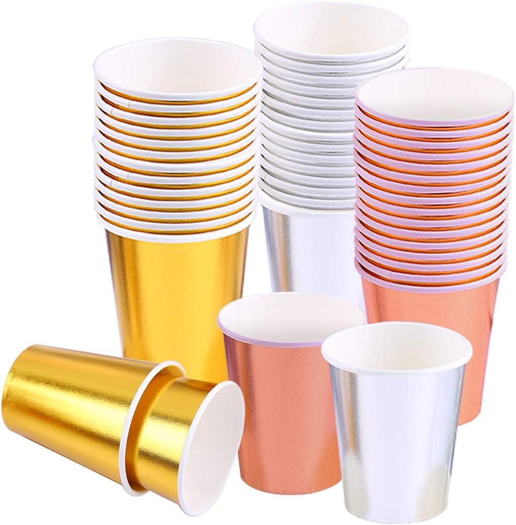 Bicchieri di carta usa e getta da 250 ml per feste feste di compleanno 90 Count 3 Colour anniversari per matrimoni in lamina doro rosa argentato