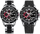 Jiusko Men's 65LSB02 Speedmaster Series Analog Display Quartz Black Watch