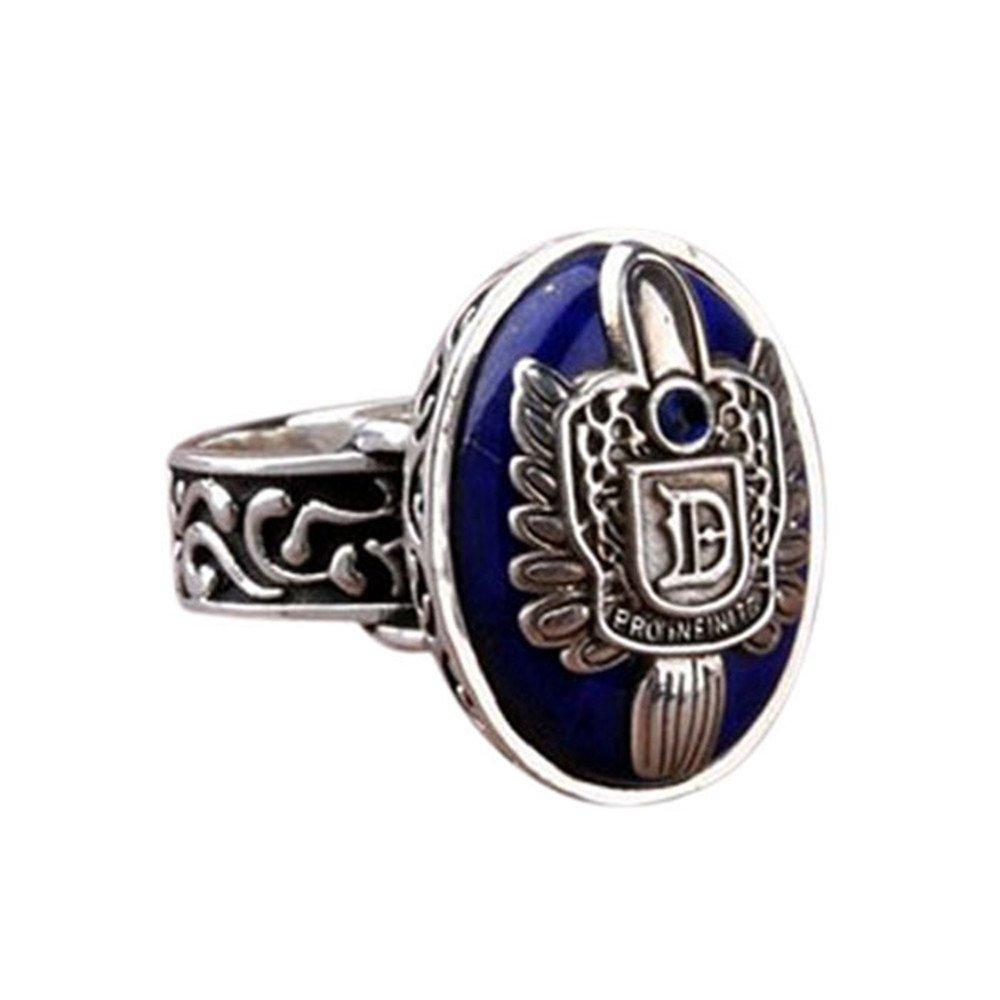 ErYao Vampire Diaries Ring Salvatore Damon Stefan Finger Family Crest Ring (18 MM, Black)