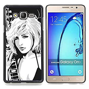 """Qstar Arte & diseño plástico duro Fundas Cover Cubre Hard Case Cover para Samsung Galaxy On7 O7 (Niña Arte Dibujo Música rock nena rubia Mujer"""")"""