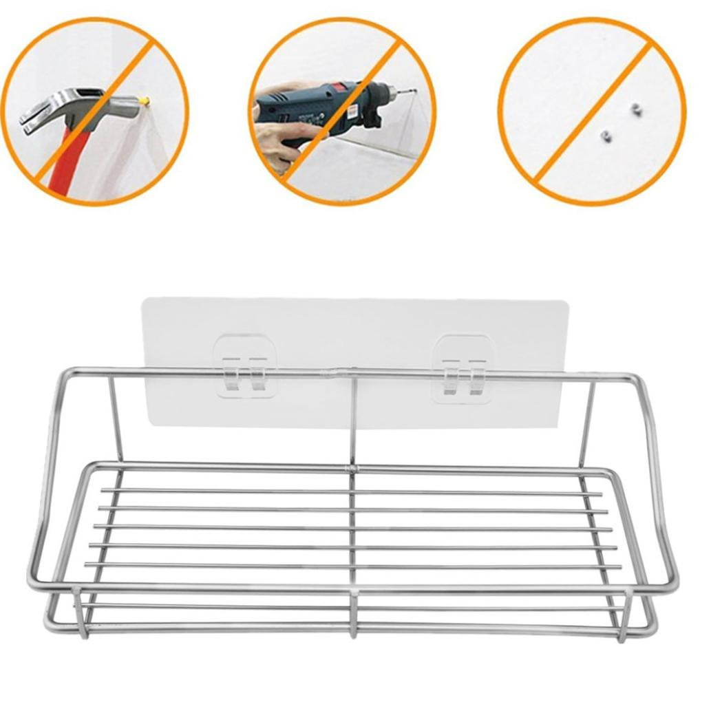 SUJING Stainless Steel Bathroom Storage Organizer Stand Rack, Wall Mounted Storage Shelf Utility Rack, Vacuum Suction Cup Shower Caddy by SUJING