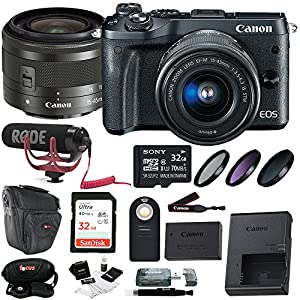 Canon EOS M6 w/ EF-M 15-45mm lens (Black) + 64GB, Filters, Case & Accessories