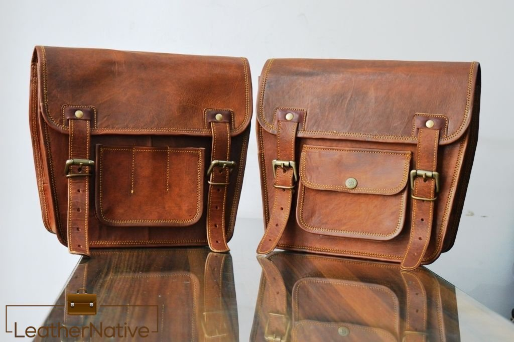 2 X Motorcycle Side Pouch Brown Leather Side Pouch Saddlebags Saddle Panniers ( 2 Bags ) Pre Valentines Day Special Sale!
