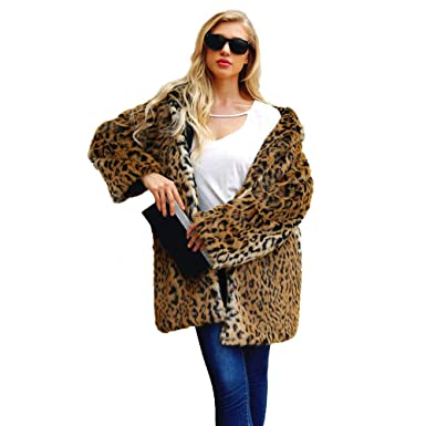 7d5d12d8161f Image Unavailable. Image not available for. Color: JPOQW-winter Women's  Hooded Leopard Warm Faux Fur Coat Long Sleeve Jacket Long Top Outerwear