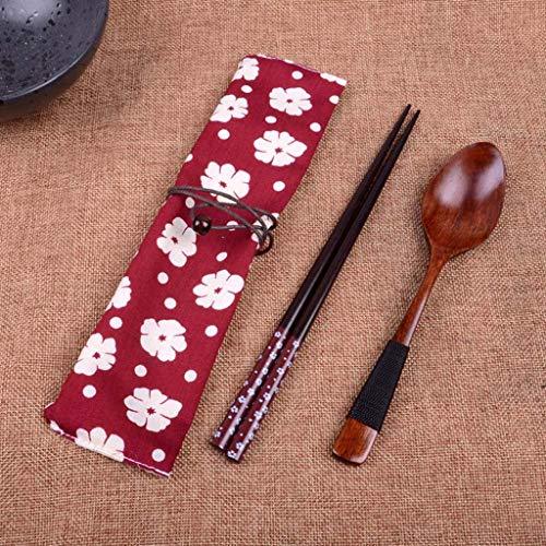 (NszzJixo9 Japanese Vintage Wooden Chopsticks Spoon Fork Tableware 2pcs/Set New Gift Portable Utensils Elegant Design)