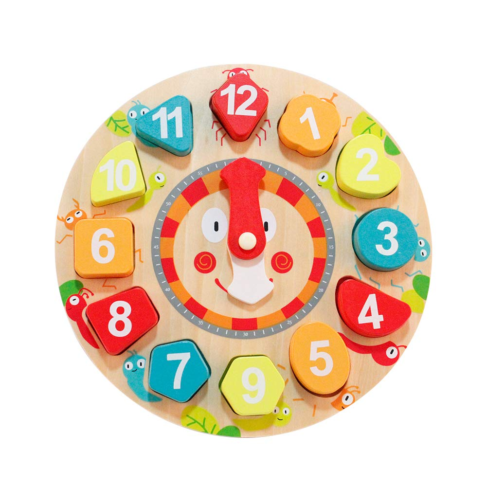 Babe Rock Sorting Wooden Learning Puzzle Toys Shape Sorting Clock Numbers Teaching Educational Toy for Preschool Toddlers Kids 2 3 4 5 Year Olds