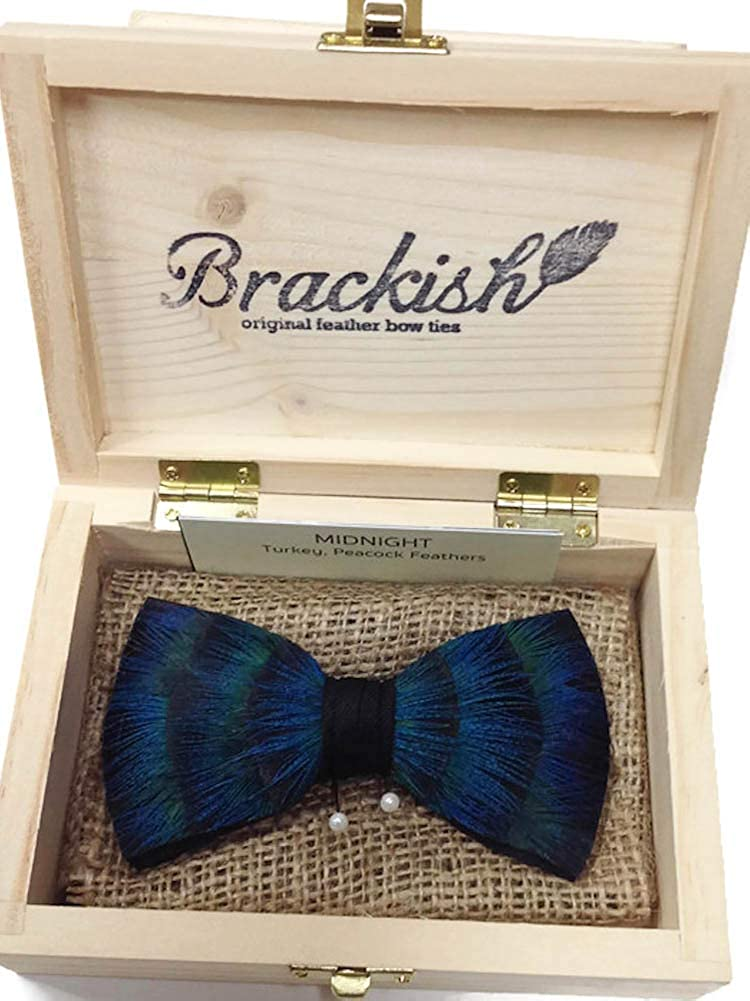 Brackish Midnight Feather Bow Tie