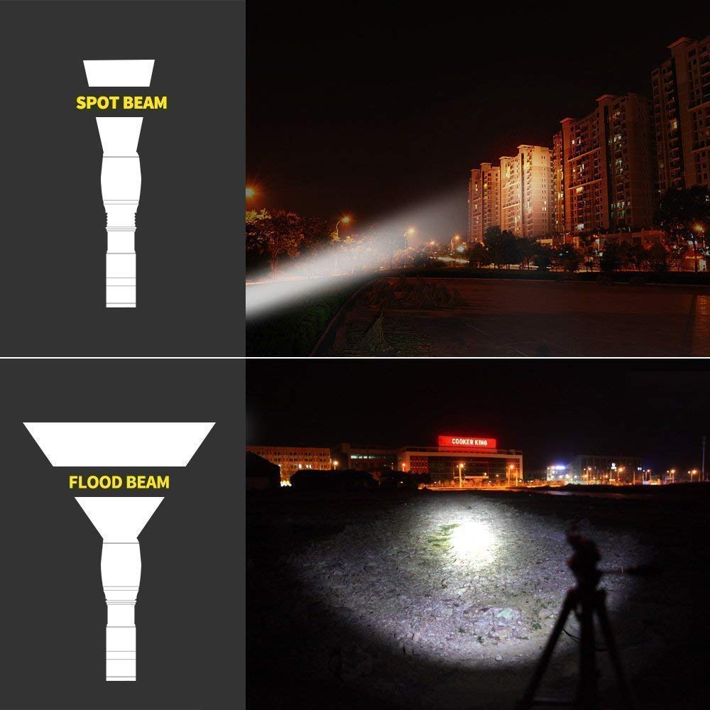 linterna LED con zoom 4 modos de alta//baja//estrobosc/ópica//SOS para interiores y exteriores Linterna recargable por USB 1000 l/úmenes linterna t/áctica XML2 s/úper brillante
