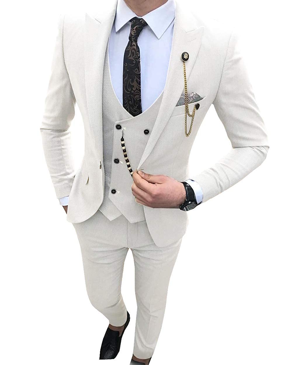 Blazer+Vest+Pants Aesido Fashion Mens Suits Slim Fit 3 Pieces Prom Tuxedos Notch Lapel Groomsmen Wedding