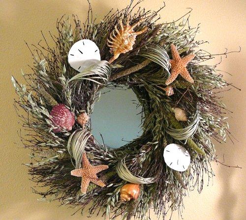 Shell-Fantasy-Mirror-Seashell-Mirror-Wreath-Nautical-Decor-22-inch-In-Diameter