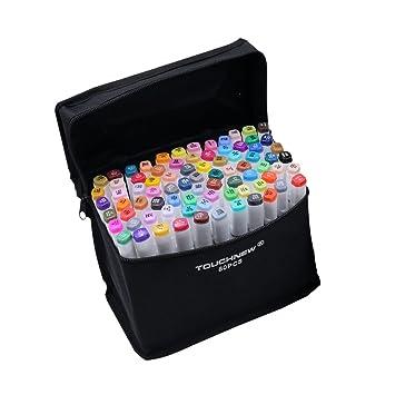 Marcadores gráficos con diseño de animación, a base de alcohol, dual, de punta ancha y fina, más estuche contenedor, color 80 colours