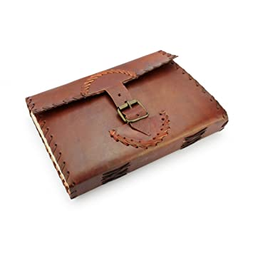 A.P. Donovan - Note book leather blank with strap closure, as organizer, calendar poetry book, Brown in DIN A5