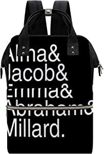 Character Names Miss Peregrine's Home for Peculiar Children White Theme Printed Backpack, Waterproof Mommy Backpack, 11.027.0915.75 (in) Large Space Backpack, Travel Bag, Computer Bag
