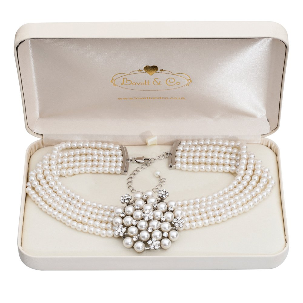 Audrey Hepburn Glass Pearl Necklace Cream with Gift Box