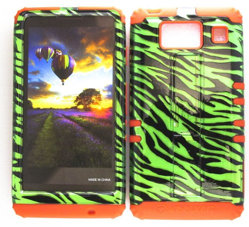 Motorola Green Transparent Faceplates (HYBRID IMPACT SILICONE CASE + RED SKIN FOR MOTOROLA DROID RAZR HD XT926 TRANSPARENT GREEN ZEBRA)