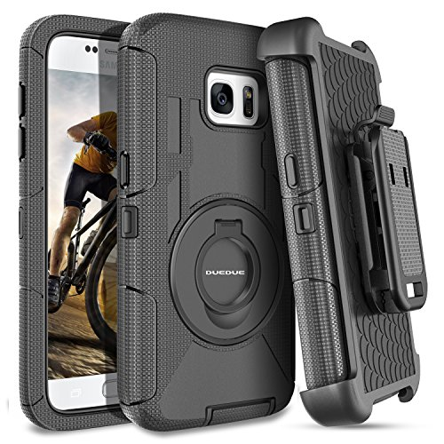 DUEDUE Galaxy S7 Case, Ring Kickstand Belt Clip Holster,Shockproof Heavy Duty Hybrid Hard PC Soft Silicone Full Body Rugged Protective Case for Samsung Galaxy S7 (G930), Black