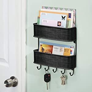 InterDesign Twillo Mail and Key Holder, Double Basket Wall Mounted Key Rack Organizer and Letter Sorter Holder for Entryway, Kitchen, Mudroom, Home Office, 2-Tiers, Black