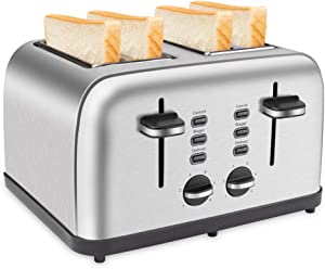 Schloß 4 Slices Toaster Extra-Wide Four Slots Toaster Multifunctions of Cancel Bagel Defrost, 6 Browning Settings Dual Independent Control Panels Removable Crumb Trays and Auto Pop-up