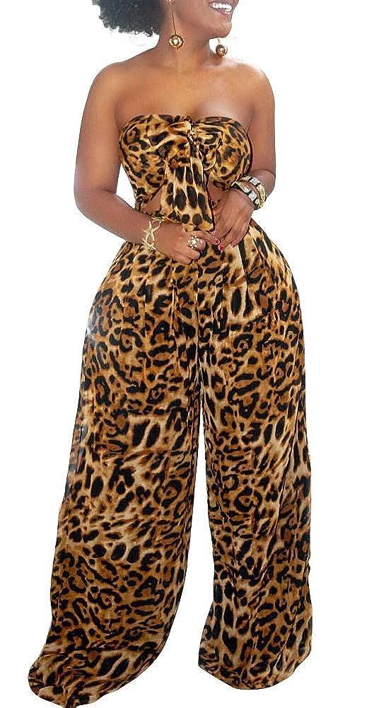 Lucuna Women Summer Jumpsuit Off Shoulder Backless African Floral Printed Wide Leg Pants Jumpsuit Romper with Tie