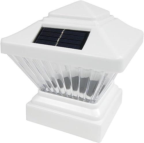 2 Pack White Outdoor Garden 4 x 4 Solar LED Post Deck Cap Square Fence Light Landscape Lamp Lawn PVC Vinyl Wood PL246W, White