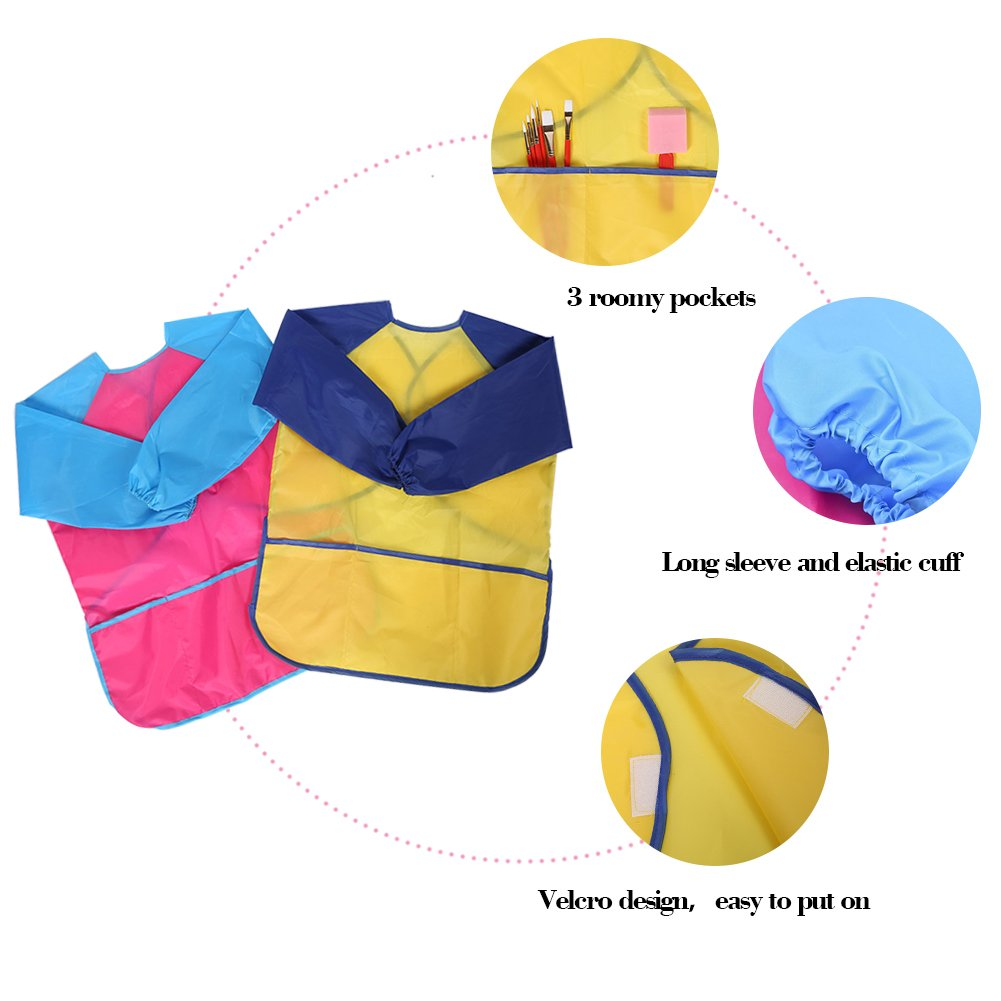Petift Kids Art Smocks Children Waterproof Artist Painting Aprons with Long Sleeve and 3 Pockets for Age 2-8 Years Toddler Kids Yellow, 1 Pack