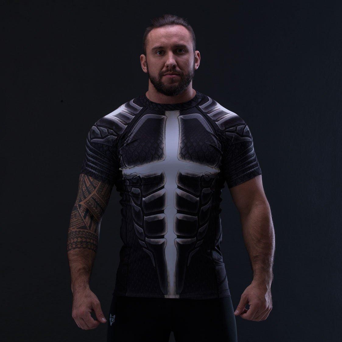 Symbo T-Shirt Herren Rashguard Zouaves of Death thermoaktiv Kompression Stretch Sport Fitness Training Kampfsport