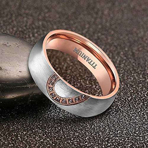 TIGRADE Real Love HeartTitanium Wedding Bands Couple Engagement Rings CZ Inlaid (women's, 9.5) by TIGRADE (Image #4)