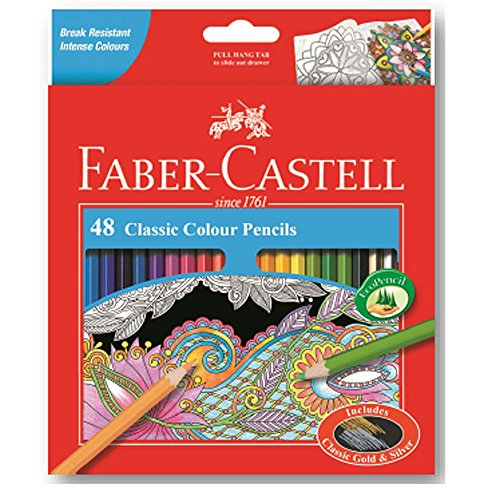 Faber-Castell Classic Color Pencils Set of 48 with Gold and Silver Colors by Faber-Castell