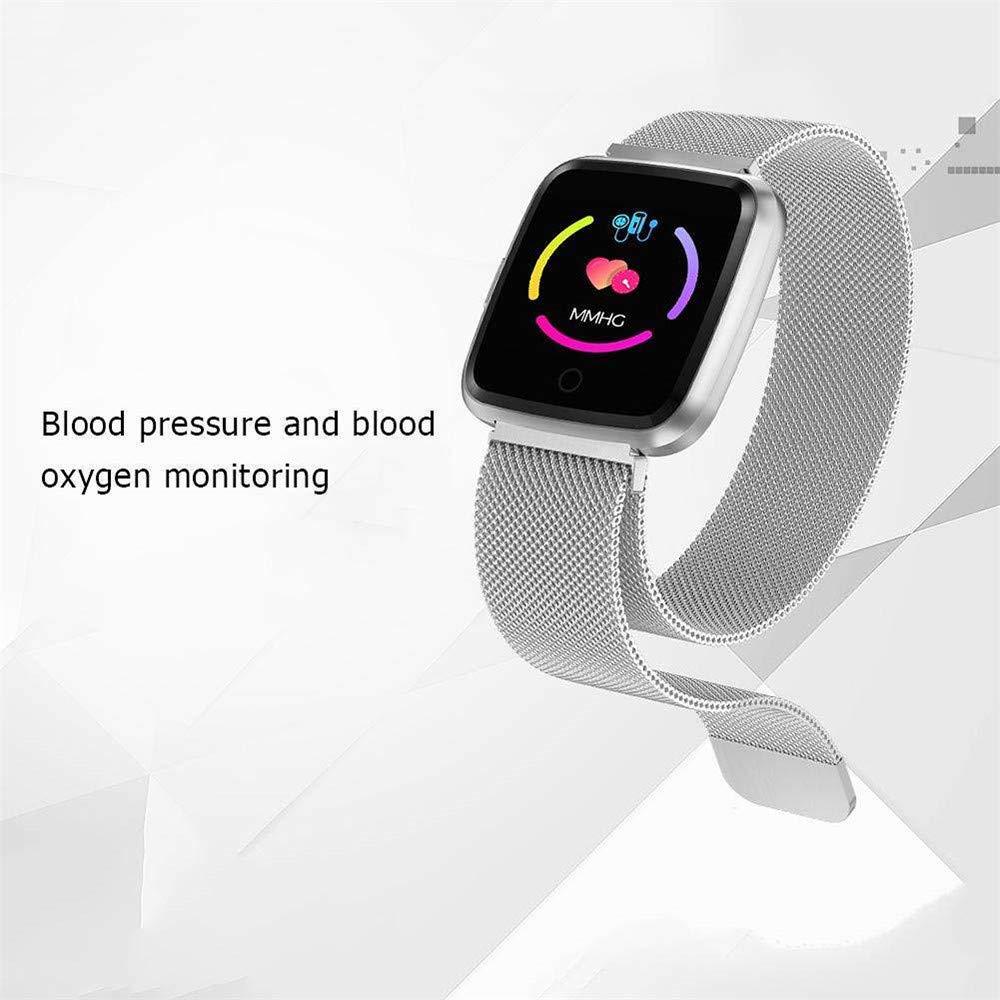 TechCode Smart Uhren Wasserdichter Fitness Tracker Pulsmesser Blutdruck Blutsauerstoffuhr Sport Bluetooth Smartwatch Anruf SMS Erinnern f/ü r iPhone Samsung Huawei Xiaomi HTC Sony LG und PA-CF-ZJ-Y7-GD-BK