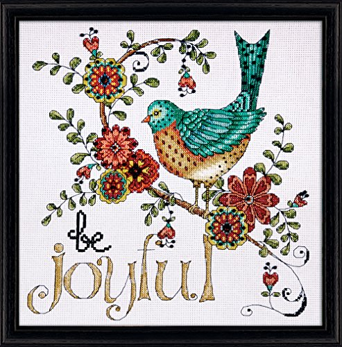 Tobin DW2789 Heartfelt be Joyful Counted Cross Stitch Kit, 10 by 10-Inch, 14 Count Counted Cross Stitch Kit Birds