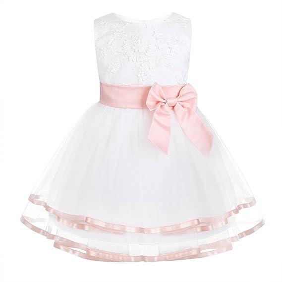 pretty nice 20e42 2fab8 iixpin Babybekleidung Baby-Mädchen Prinzessin Kleid Festzug Taufkleid  Hochzeit Partykleid Mädchen Tüll Kleidung Blumenmädchenkleid mit  Baumwollhose