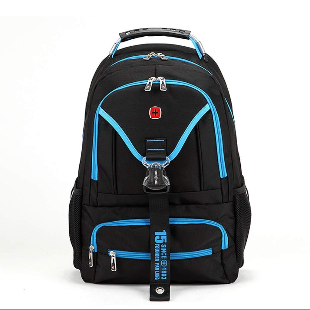 HBJP ビジネスファッションバックパック防水ショルダーバッグ15.6インチ学生バッグ バックパック (色 : 青)  青 B07N2NY311