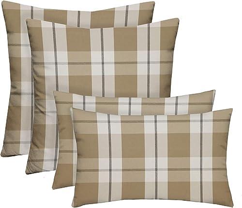 RSH D cor Indoor Outdoor Farmhouse Buffalo Plaid 2-17 x 17 2-20 x 12 Pillow Set Weather Resistant – Choose Color Branson Birch Tan Beige Big Buffalo Plaid