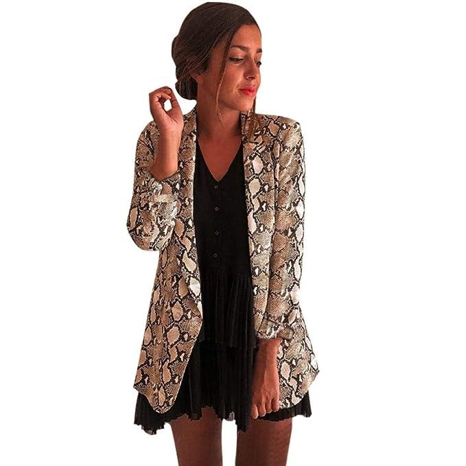 e69a5cf37260b Women Suit Jacket TUDUZ Ladies Long Sleeve Snake Skin Print Blazer Coat  Office Work Business OL Outwear Tops: Amazon.co.uk: Clothing