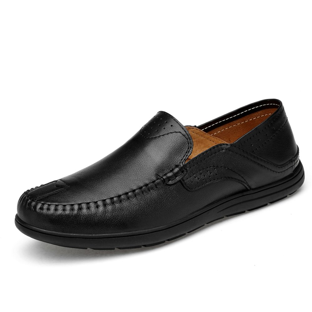 XUEXUE Men's Shoes Leather Spring Summer Comfort Loafers & Slip-Ons Driving Shoes Walking Shoes Breathable Casual Office & Career Formal Business Work (Color : D, Size : 45)