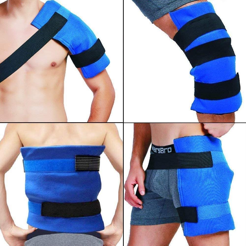 """WORLD-BIO Large Gel Ice Pack & Wrap for Injuries, Hot & Cold Therapy Relief for Hip Surgery, Back Pain, Shoulder Aches, Elbow Bruised, Knee Replacement - 11"""" x 14"""" Blue"""