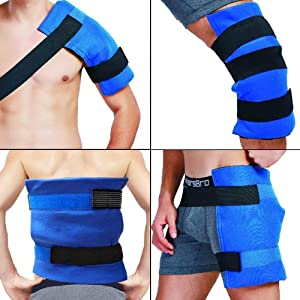 "WORLD-BIO Large Gel Ice Pack & Wrap for Injuries, Hot & Cold Therapy Relief for Hip Surgery, Back Pain, Shoulder Aches, Elbow Bruised, Knee Replacement - 11"" x 14"" Blue"