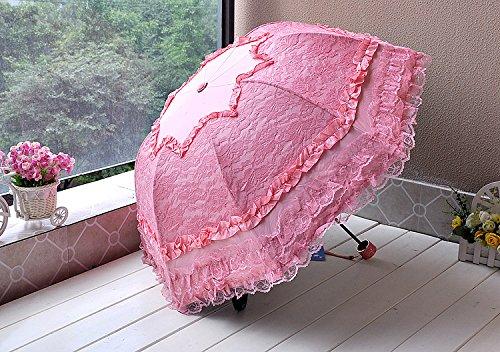 涼っ日傘 完全遮光 遮熱 晴雨兼用 UV99%カット 三つ折り 可愛い お姫様フリルモード 深張り 日傘 収納巾着付き熱と紫外線 を シャットアウト ピンク B00L2BX832