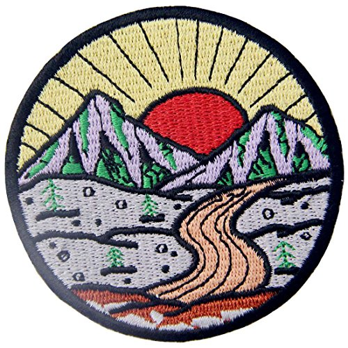 Sunrise from Mountain Vintage Explore Outdoor Patch Embroidered Applique Iron On Sew On Emblem (Vintage Scout Boy Patches)