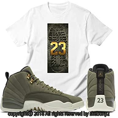 purchase cheap c9c15 4365a Custom T Shirt Matching Air Jordan 12 CP3 Olive Canvas Class ...