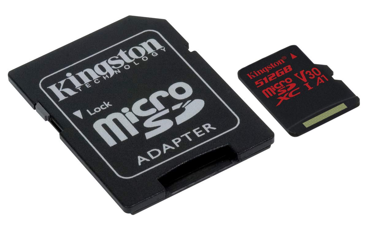 Kingston Digital SDCR/512GB Canvas React 512GB microSDXC Class 10 microSD Memory Card UHS-I 100MB/s R Flash Memory High Speed microSD Card with Adapter by Kingston