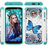 Moto G6 Case IVY Dual Layer 2 in 1 [Painted Pattern & Diamond][Heavy Duty] Rugged Rubber Hybrid PC+TPU Back Protective Cover for Motorola Moto G6/Moto 1S - Butterfly