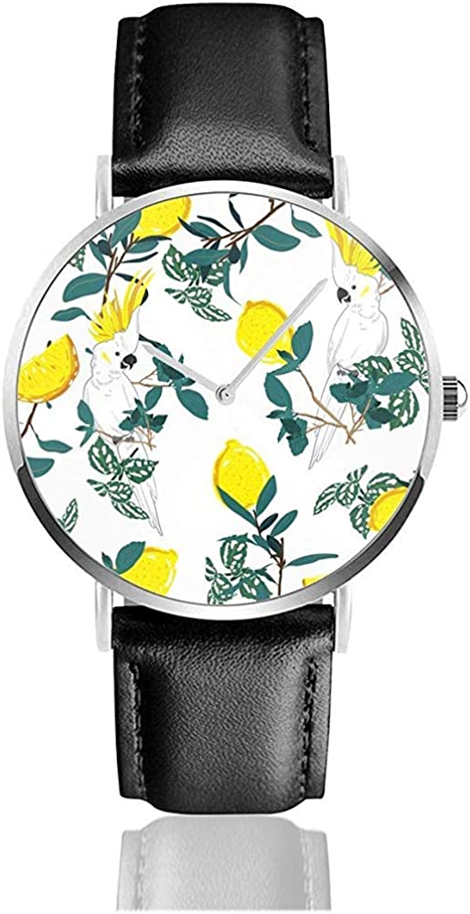 Forest Print Parrot Bird Jungle Summer Tropical Classic Casual Reloj de Cuarzo Relojes de Cuero