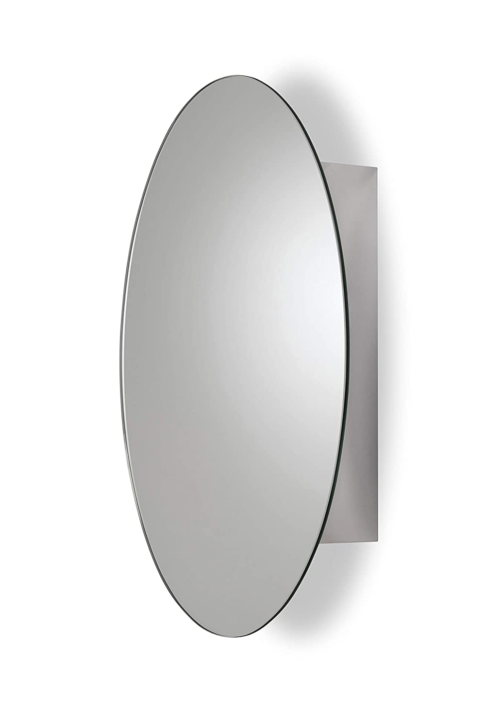 Croydex WC870105AZ Tay Stainless Steel Oval Medicine Cabinet with Over Hanging Mirror Door,