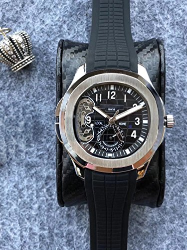 Luxury Brand Stainless Steel Silver Color Black dial Black Rubber Skeleton Automatic (self-Wind) Aqua Traveller Watch Watches